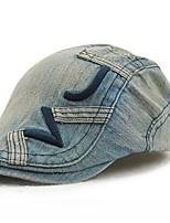 Men's Cotton Beret Hat Peaked Cap Vintage Casual Patchwork Summer All Seasons Black/Royal Blue/Blue/Orange/Brown