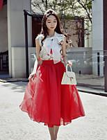 Feminino Blusa Para Noite Casual Férias Vintage Moda de Rua Sofisticado Verão,Floral Poliéster Elastano Colarinho Chinês Sem MangaOpaca
