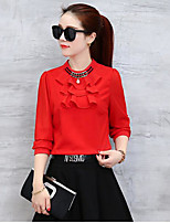Women's Casual/Daily Cute Blouse,Solid Crew Neck Long Sleeve Acrylic