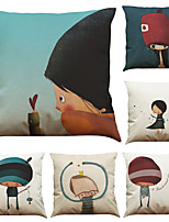 Set of 6 Cute Boy And Girl Pattern Linen Pillowcase Sofa Home Decor Cushion Cover  Throw Pillow Case (18*18inch)