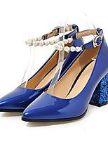 Feminino-Saltos-Conforto Inovador Gladiador Sapatos clube-Salto Grosso--Couro Envernizado-Casamento Social Festas & Noite