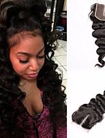 Lace Closure 100% Human Hair Malaysian Loose Wave Virgin Hair Natural Black Color Free/Middle/Three Part 4x4