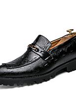 Черный Вино-Для мужчин-Для офиса Повседневный Для вечеринки / ужина-Кожа-На плоской подошве-Удобная обувь Формальная обувь-Туфли на