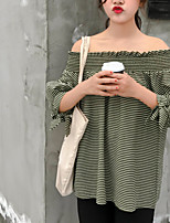 Women's Casual/Daily Simple Shirt,Striped Boat Neck Cotton