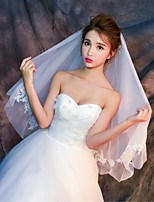 Wedding Veil Two-tier Blusher Veils Elbow Veils Cut Edge Lace Applique Edge Tulle Lace