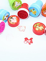 Cartoon Plastic DIY Lovely Inkpads Learning Incentive For Children Gift(10pcs/Box Pattern Maybe Change)