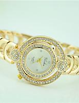 Damen Modeuhr Armbanduhr Quartz Strass Legierung Band Bequem Gold