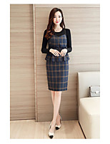 Women's Going out Casual/Daily Cute Street chic Sophisticated Tank Top Skirt Suits,Plaid V Neck