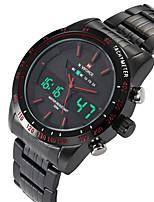 NAVIFORCE Hombre Reloj Deportivo Reloj de Moda Reloj de Pulsera Reloj Casual Cuarzo Digital Calendario Dos Husos Horarios Acero Inoxidable