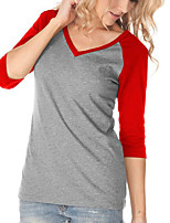 Women's Going out Casual/Daily Holiday Simple Classic Street chic Spring Fall T-shirtColor Block V Neck  Sleeve All Match Medium