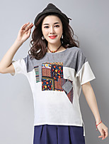 Women's Casual/Daily Simple T-shirt,Color Block Round Neck Short Sleeve Linen