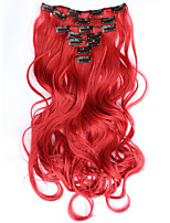 7pcs/Set 130g Red Wavy 50cm Hair Extension Clip In Synthetic Hair Extensions