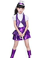 Jazz Outfits Kid's Performance Spandex Sequined Sequins 3 Pieces Short Sleeve Natural Top Vest Skirt