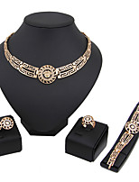 Jewelry Set Euramerican Fashion Classic Rhinestone Chrome Head 1 Necklace 1 Pair of Earrings 1 Bracelet Rings ForWedding Party