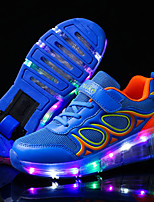 Boys' Athletic Shoes Summer Fall Light Up Shoes Luminous Shoe Tulle Outdoor Athletic Casual Low Heel LED Lace-up Blushing Pink BlueSkiing