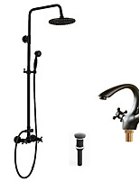Antique Traditional Art Deco/Retro Shower System Rain Shower Handshower Included with  Ceramic Valve Three Handles Two Holes for Shower Faucet