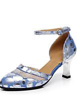 Sapatos de Dança(Verde Azul) -Feminino-Personalizável-Moderna