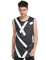 Men's Going out Beach Club Sexy Simple Street chic Tank Top,Print Round Neck Sleeveless Cotton Polyester