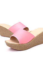Women's Slippers & Flip-Flops Spring Summer Club Shoes Light Soles Leather Outdoor Office & Career Casual Wedge Heel Platform Split Joint