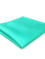 CH34 New Men's Pocket Square Handkerchiefs Aqua Solid 100% Silk Classic Unique Handmade Jacquard Woven