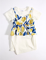 Girls' Casual/Daily Solid Print Sets,Cotton Summer Clothing Set