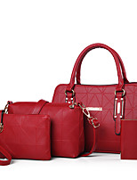 Women PU Casual Office & Career Tote Pinky Deep Blue Ruby Black White