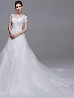 Trapèze Robe de mariée Traîne Cathédrale Bateau Tulle avec Strass Appliques Perlage Perle