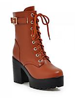Для женщин Ботинки Удобная обувь Полиуретан Весна Повседневный Черный Коричневый На плоской подошве