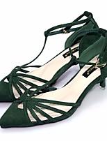 Черный Зеленый-Для женщин-Повседневный-Полиуретан-На толстом каблуке-Босоножки-Обувь на каблуках