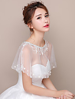 Women's Wrap Capelets Tulle Wedding Party/Evening Crystal Lace Floral Trim