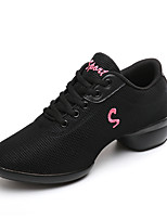 Non Customizable Women's Dance Shoes Fabric Dance Sneakers Sneakers Chunky Heel Practice Red Black White
