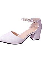 Women's Heels Spring Summer Fall Comfort PU Office & Career Dress Chunky Heel Imitation Pearl Blushing Pink White