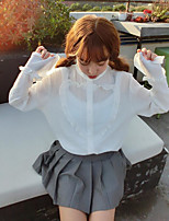 Women's Going out Vintage Simple Shirt,Solid Shirt Collar Long Sleeve Others