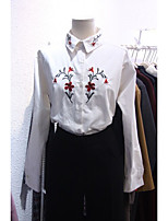 Women's Casual/Daily Simple Shirt,Embroidered Shirt Collar Long Sleeve Cotton