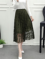 Sign 2017 spring new sexy lace perspective gauze skirts long section stitching waist dress women