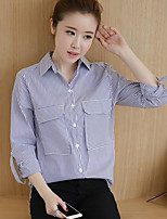 Women's Going out Vintage Shirt,Striped Shirt Collar ¾ Sleeve Cotton