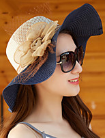 Straw Hat Bowknot Big Wide Large Brim Uv Sunscreen Shading Solid Beach Sun Hat Cap for Lady Women