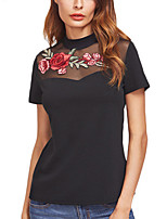 Women's Formal Work Simple Sophisticated All Seasons T-shirt,Solid Print Round Neck Short Sleeve Rayon