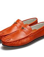 Черный Оранжевый Серый-Для мужчин-Повседневный-ПолиуретанУдобная обувь Мокасины-Мокасины и Свитер