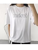Feminino Camiseta Casual SimplesBordado Letra Algodão Decote Redondo Manga Curta