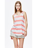 HEARTSOUL Women's Going out Casual/Daily Beach Simple Street chic Summer Tank Top,Striped Round Neck Sleeveless Polyester Spandex Thin