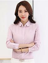 Damen Solide Einfach Ausgehen Lässig/Alltäglich Hemd,Hemdkragen Langarm Baumwolle