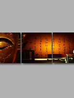 Stretched Canvas Print Three Panels Canvas Wall Decor Home Decoration Abstract Modern Brown Buddha