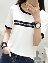 Women's Casual/Daily Simple T-shirt,Print Letter Round Neck Short Sleeve Cotton