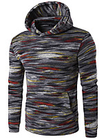 Men's Casual/Daily Hoodie Striped V Neck Micro-elastic Cotton Long Sleeve