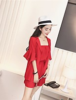 Women's Casual/Daily Simple Shirt Dress Suits,Solid Round Neck