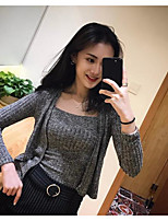 Women's Casual/Daily Long Cardigan,Solid Round Neck Long Sleeve Cotton Summer Medium Micro-elastic