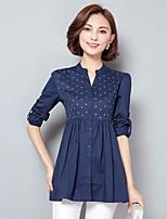 Damen Solide Einfach Ausgehen Hemd,Ständer Langarm Baumwolle