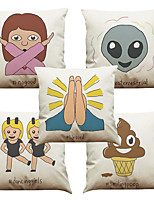Set of 5 Gesture Art Pattern  Linen Pillowcase Sofa Home Decor Cushion Cover (18*18inch)
