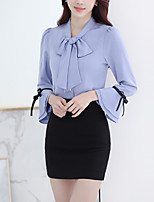 Women's Formal Work Simple Sophisticated All Seasons Shirt,Solid Shirt Collar Long Sleeve Rayon
